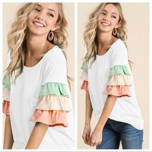 GOOD VIBRATIONS TIERED RUFFLE SLEEVES TOP-IVORY